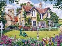 Rasenpflege - Haus, Menschen, Rasen, Blumen