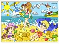 Край морето - деца, играещи на морския плаж