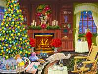 Christmas - Room, Christmas tree, boy, dog, cat