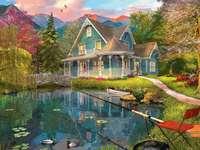 dům v horách poblíž jezera