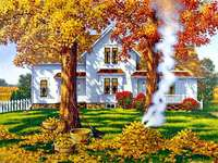 Cottage And Fireplace, Autumn - Cottage, Fireplace And Leaves. Autumn