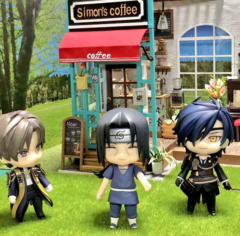 Ο Itachi και οι φίλοι του μπροστά από ένα ωραίο καφέ (9×9)