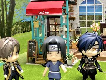 Itachi and his friends in front of a nice cafe
