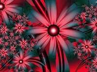 Abstração - flores vermelhas arranjadas