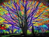 Pintura árbol brillante colorido - Pintura árbol brillante colorido