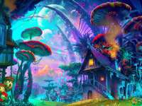 Kleurrijk sprookjeslandschap