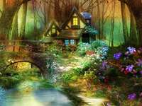 Mesebeli erdő ház- és hídvirágokkal - Mesebeli erdő ház- és hídvirágokkal