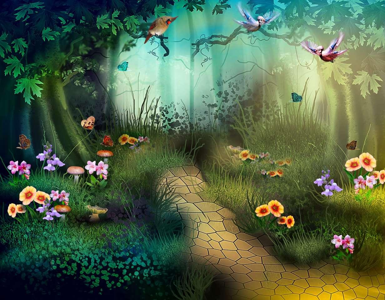 Floresta de conto de fadas com borboletas e flores coloridas (12×10)