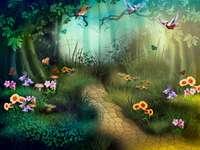 Pădure de basm cu fluturi de flori colorate