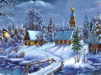Visão - Inverno, chalés e um pássaro
