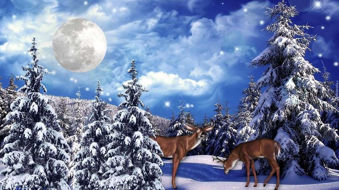 Елен през зимата - Зимен сняг елен луна (8×5)