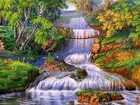 View - Footbridge cascade trees