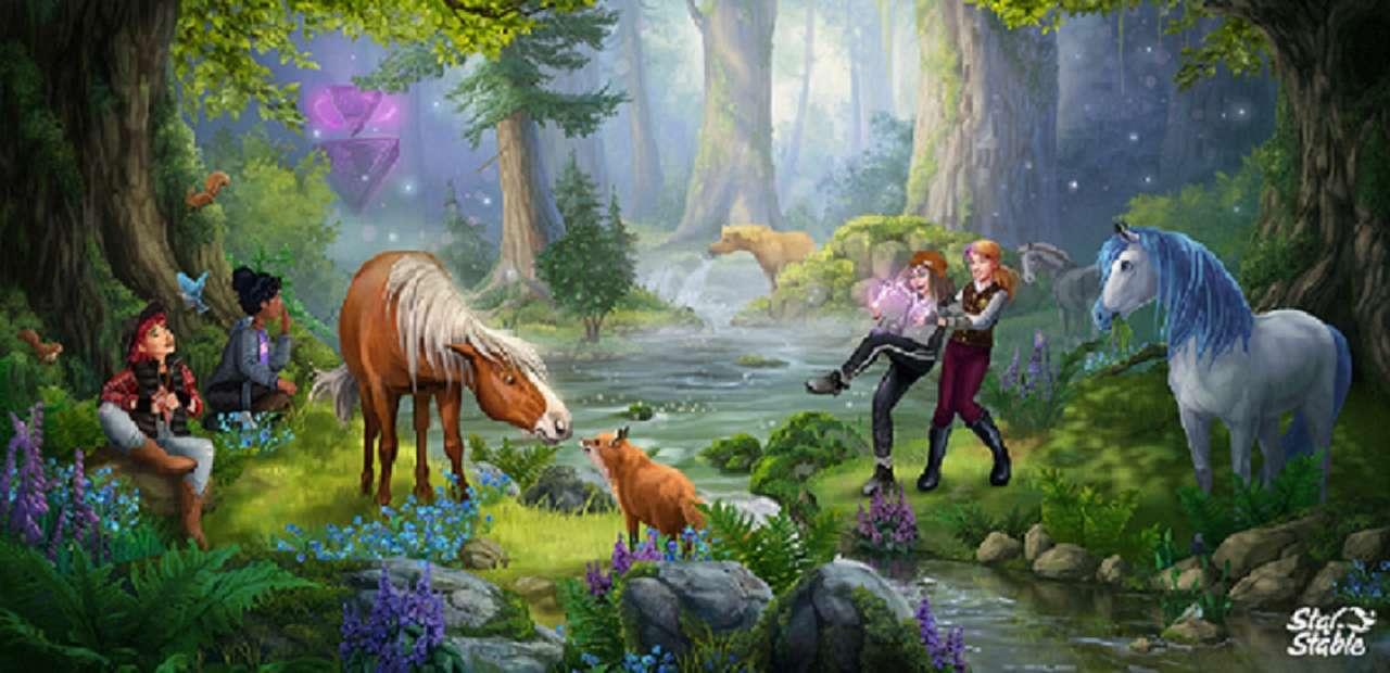 resten - Träd, hästar, bäck, människor (10×5)