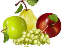 Fruits apple grapes and pear