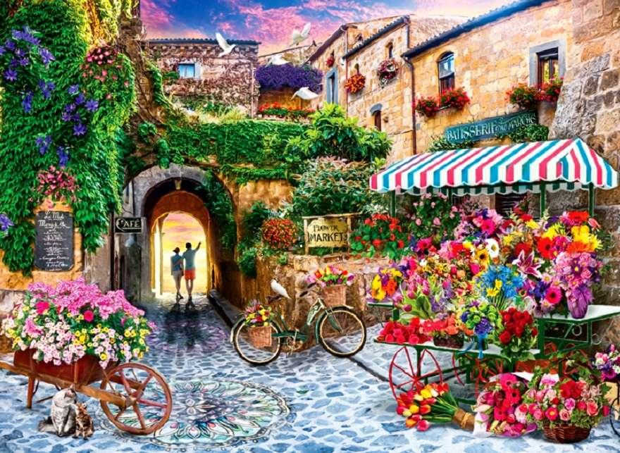 Bloemenmarkt - Bloemenmarkt, bloemen, stad, mensen, dieren (12×9)