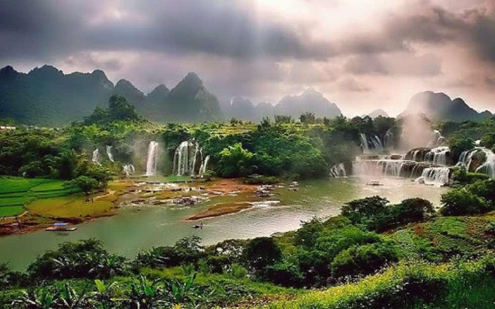 изглед - водопади, природа, небе (9×6)