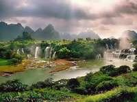 view - waterfalls, nature, sky