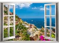 Vackert landskap synligt genom fönstret