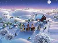 Vinterlandskap med en lantgård