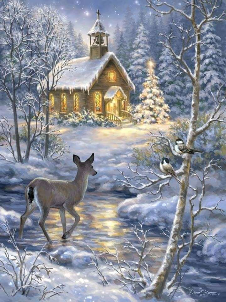 Зимна пейзажна църква и елени (8×11)