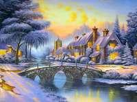 Pueblo en paisaje invernal
