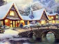 Село в зимен пейзаж - Село в зимен пейзаж