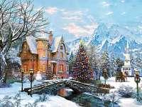 Зимен пейзаж с коледно дърво
