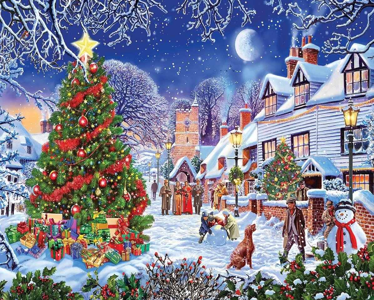 Pueblo en Navidad - Pueblo de pintura en Navidad (12×10)