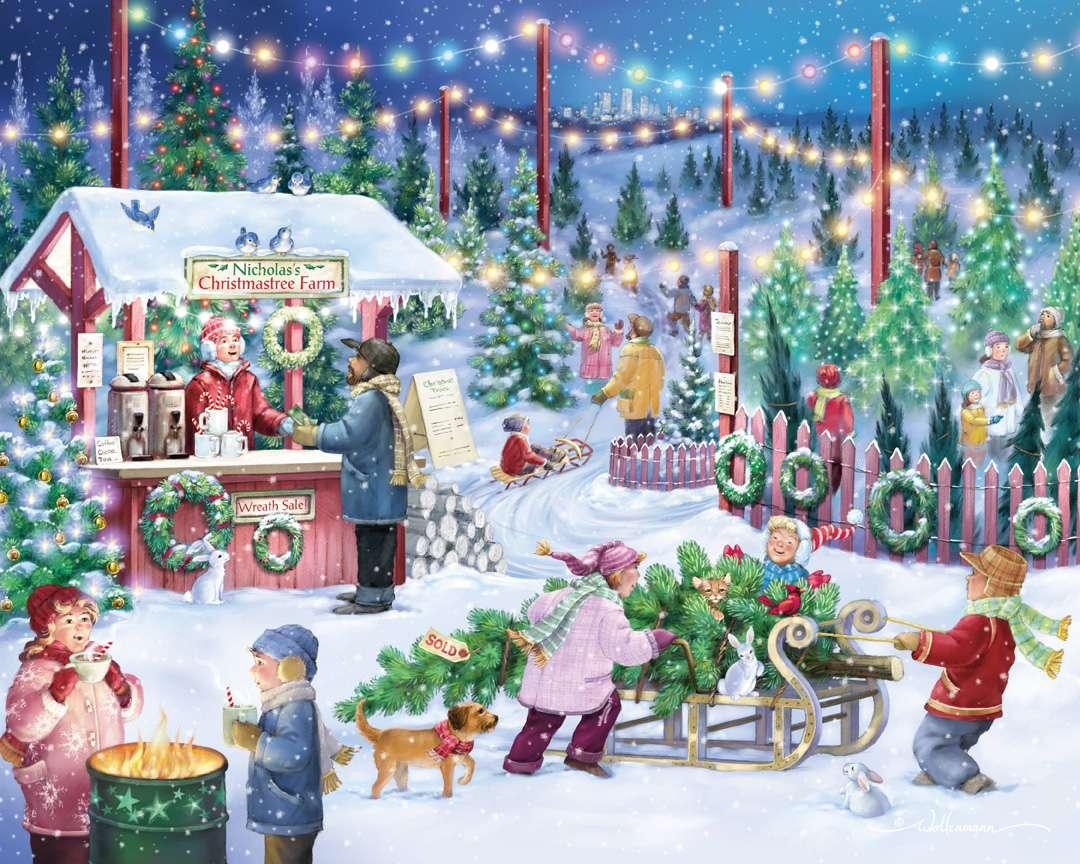 Mercado de Navidad - Pintura mercado navideño (12×10)