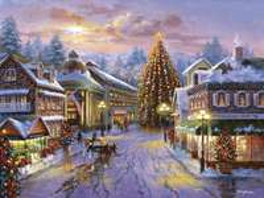 Miasto na Boże Narodzenie z choinkami