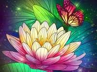Flores através dos olhos de uma borboleta