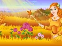 Есенна фея и нейните цветя - Решете пъзела на Есенната фея