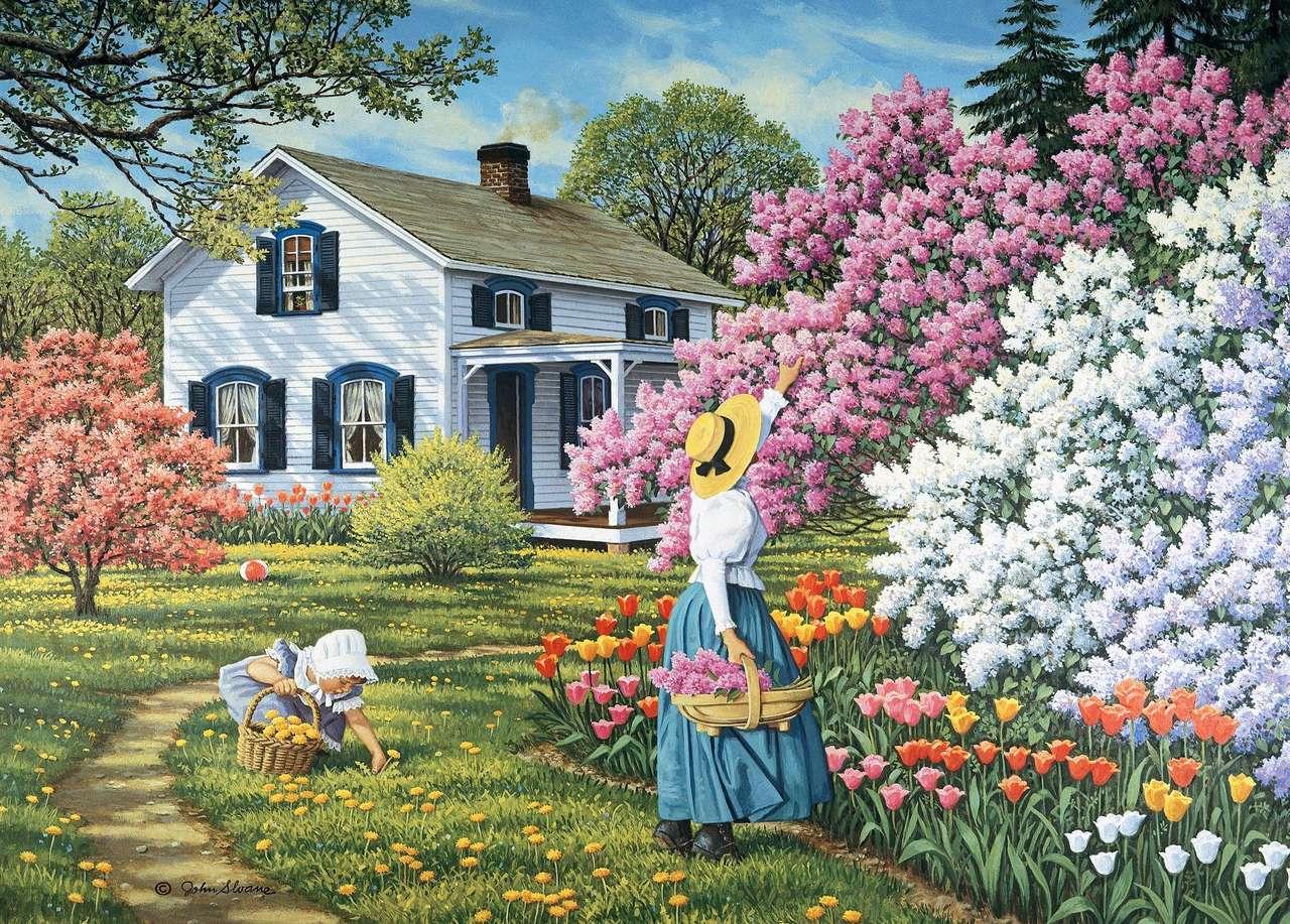 jardim florescendo - Jardim. Mulher, menina, casa, flores (12×9)
