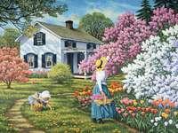 blühende Garten - Garten. Frau, Mädchen, Haus, Blumen