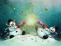 Inverno com bonecos de neve
