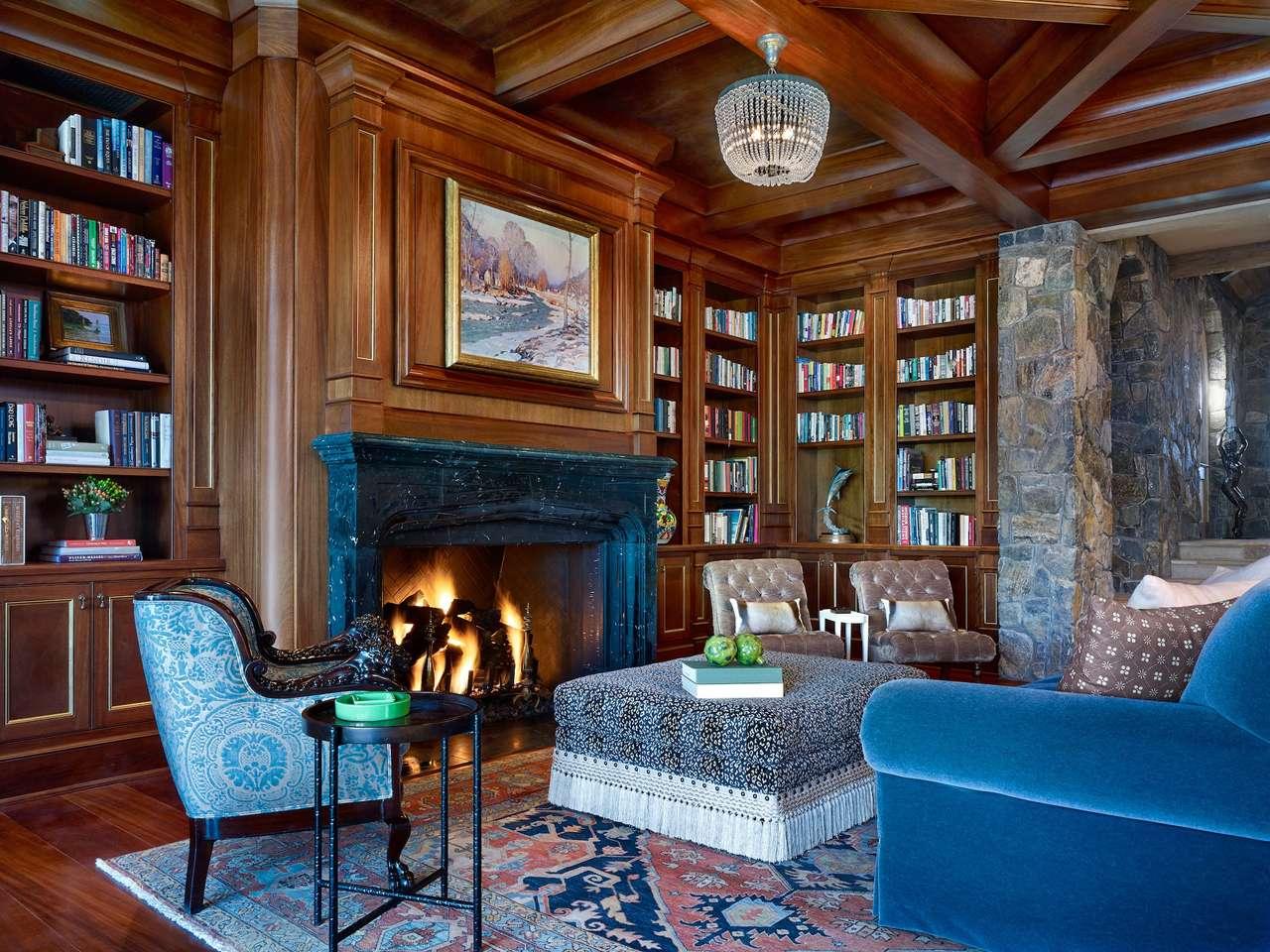 Bonita habitación con chimenea y biblioteca.