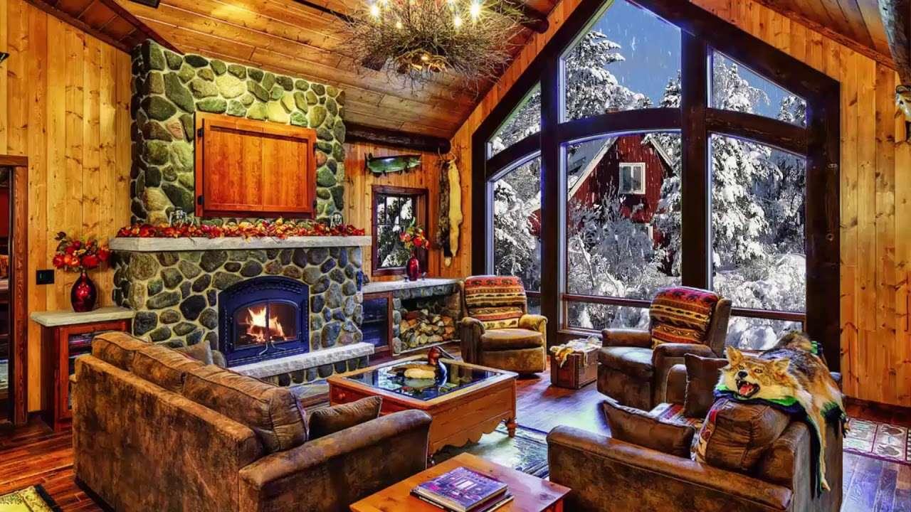 Espacio habitable de cabaña de troncos en invierno