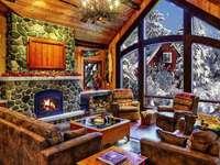 Χώρος διαβίωσης καμπινών κούτσουρων το χειμώνα
