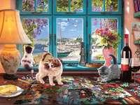 Puzzlespaß - Puzzle, Kätzchen, Haus, Fenster