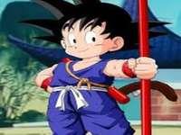 Goku Little First Blue Anzug - Goku ist eine Drachenballfigur. Das Bild ist, als sein Großvater Gohan starb