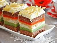 pastel con melón y calabaza