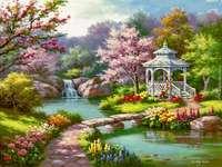 Blumen im Garten am Fluss
