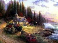 Uma casinha mágica no meio da floresta