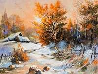 paisaje de invierno - paisaje de invierno en la pintura