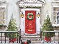 Gemälde Weihnachtsdekoration vor dem Haus