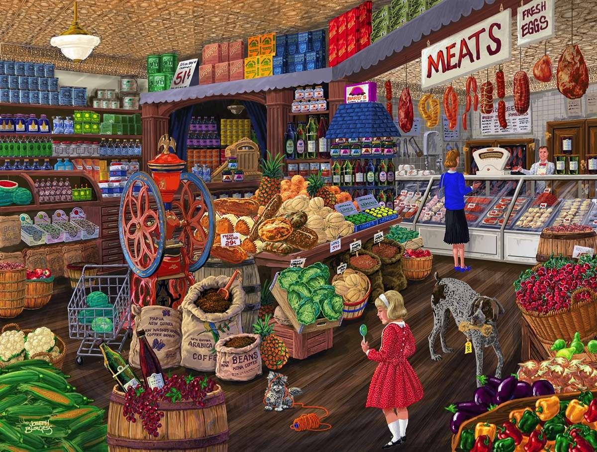 Supermarket - Supermarket, potraviny, lidé, pes (11×9)