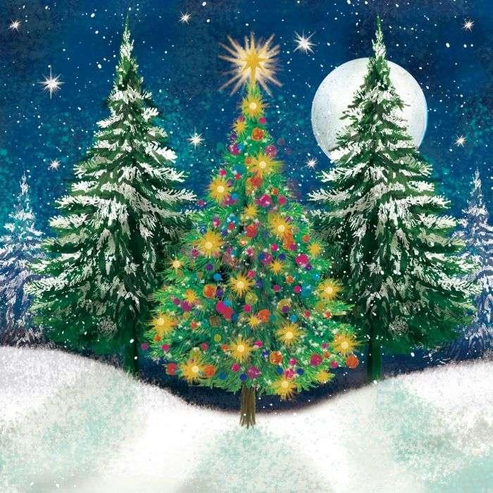 Ζωγραφική Χριστουγέννων στο δάσος τη νύχτα (10×10)