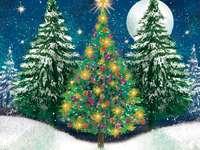 Malowanie Bożego Narodzenia w lesie w nocy
