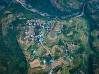 aerial view of green and brown mountains - Beibei, 重庆市中国