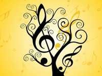žlutý hudební strom - Jednoduchý hudební strom pro děti